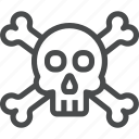 bones, crossbones, dead, deadly, halloween, skeleton, skull icon
