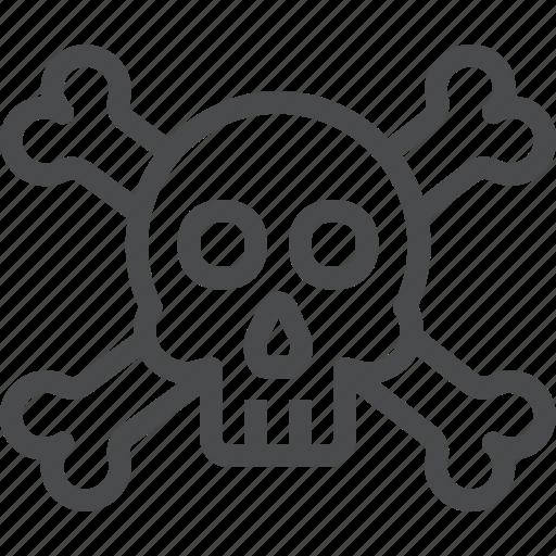bones, crossbones, dead, deadly, halloween, skeleton, skull icon
