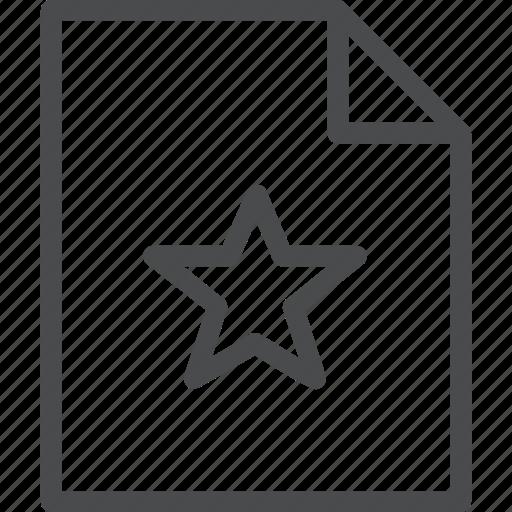 document, favorite, paper, star icon
