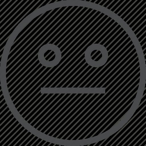 emoji, emoticon, expression, face, straight icon