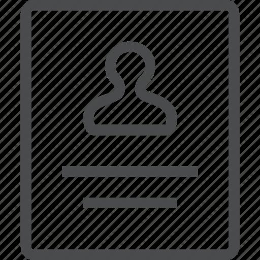 account, directory, id, identification, info, profile, user icon