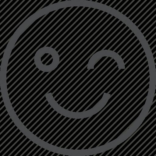 avatar, emoji, emoticon, emotion, face, happy, wink icon