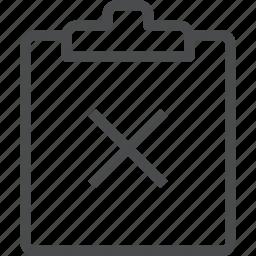 clipboard, close, copy, delete, error, remove, x icon