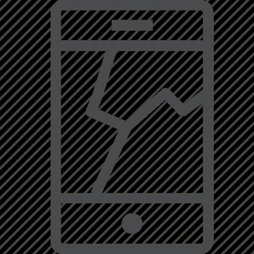 broken, crack, device, iphone, mobile, phone, screen icon