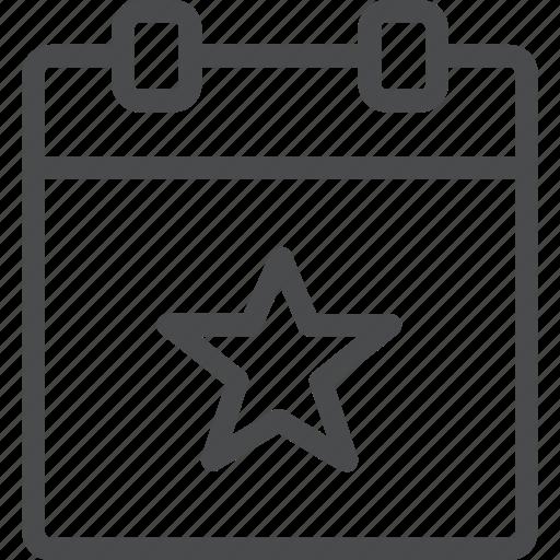 calendar, event, star icon