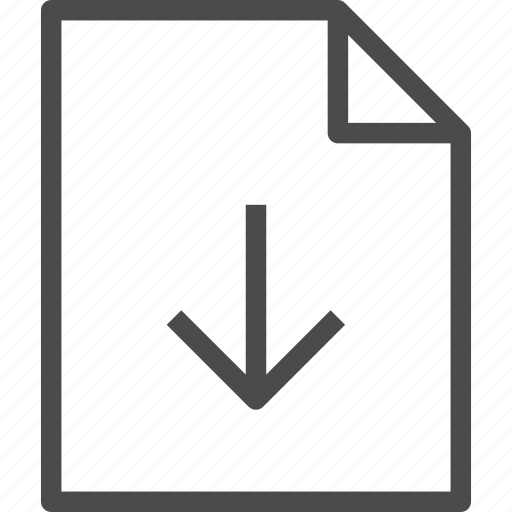 arrow, document, down, download icon