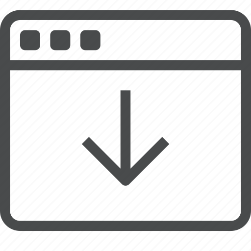 arrow, down, webpage, website icon