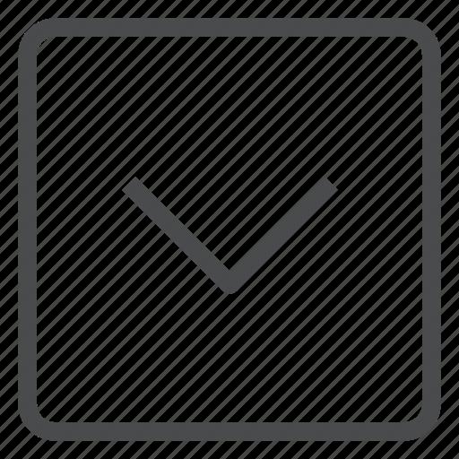 chevron, down, square icon
