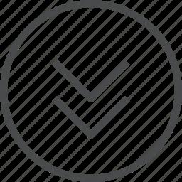 chevrons, circle, down icon