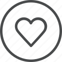 circle, favorite, heart, like, love, valentine, wedding icon