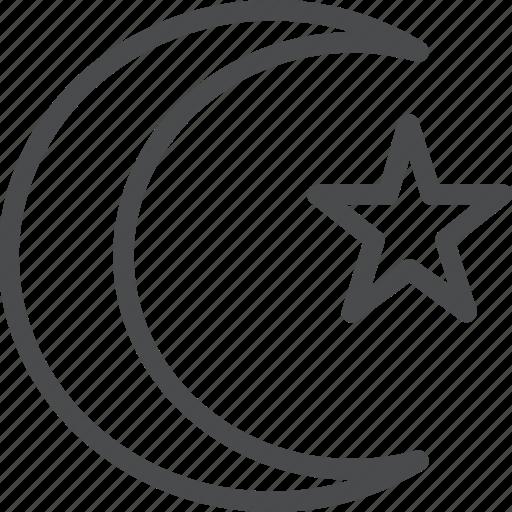 islam, moon, muslim, night, religion, star icon