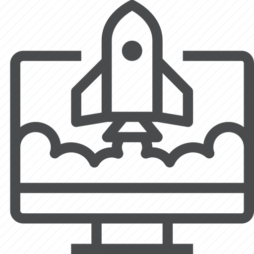development, launch, new, rocket, spaceship, website icon
