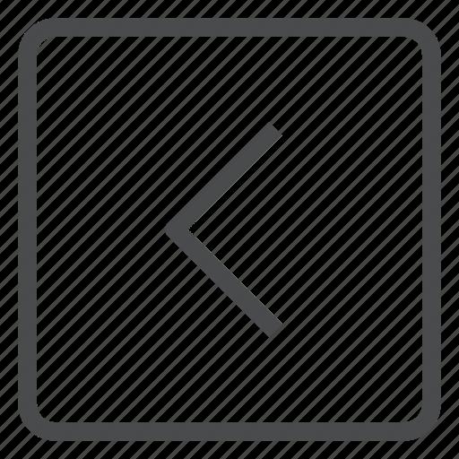 back, chevron, left, previous, square icon