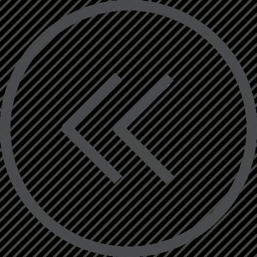 back, chevrons, circle, left, previous icon