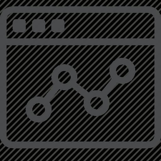 analytics, data, graph, line, report, statistics, webpage icon