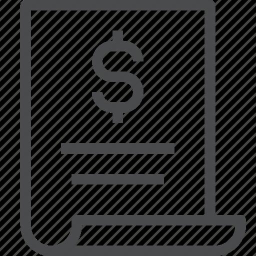 bill, document, finance, loan, money, receipt icon
