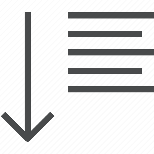 arrow, down, line, paragraph, spacing, text icon