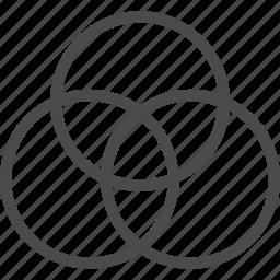 circles, color, combine, filter, overlap, photo icon