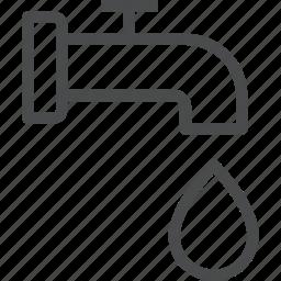 faucet, flow, pipe, plumbing, tap, valve, water icon