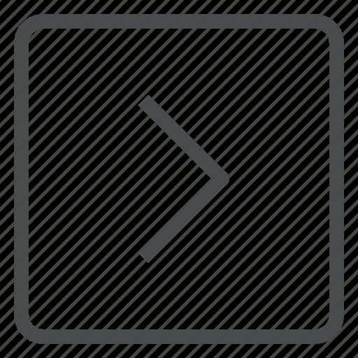 chevron, forward, next, right, square icon