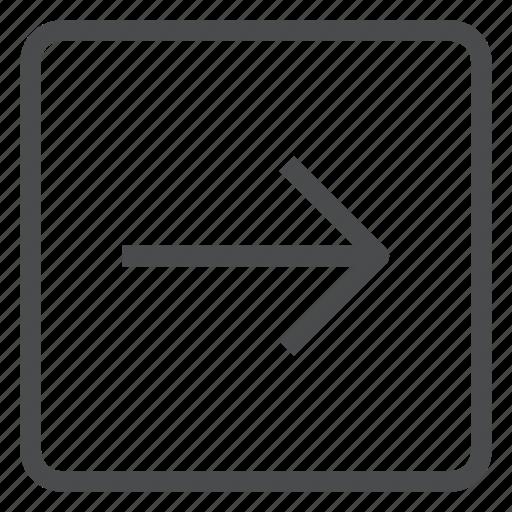arrow, forward, next, right, square icon