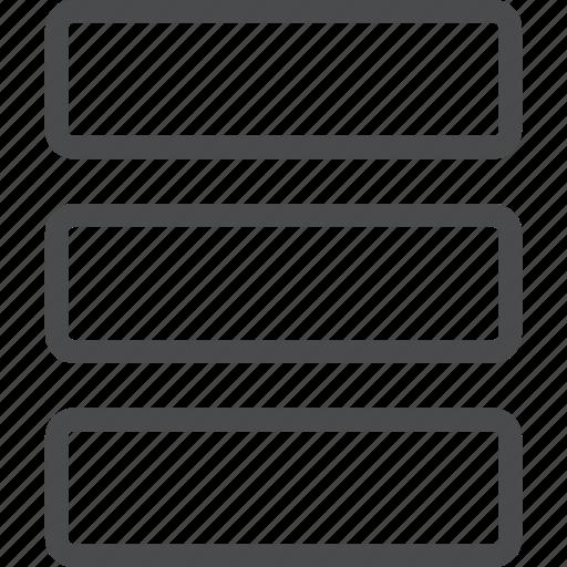list, menu, options, rows icon