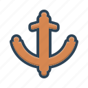 anchor, antique, equipment, marine, nautical, object, security icon