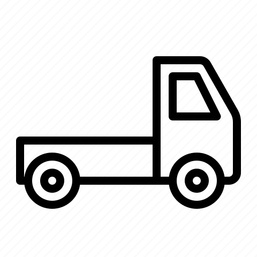 construction, flatbed, ios, lorry, pickup, truck, van icon