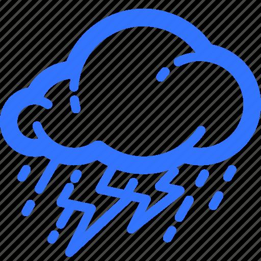 cloud, lightning, rain, rainfall, storm, thunderstorm, weather icon