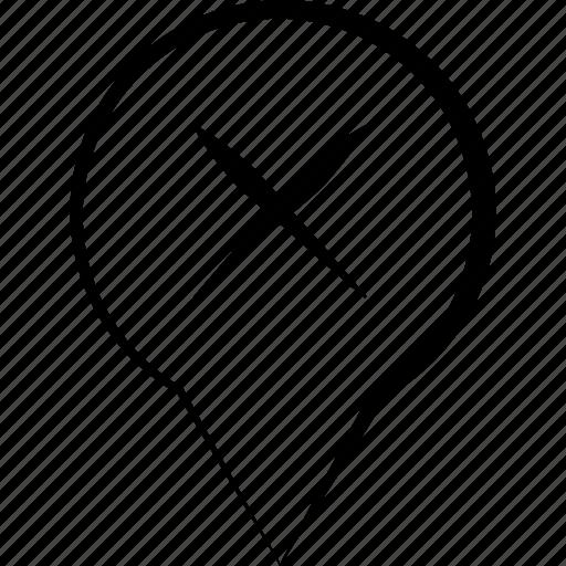 cancel, cross, delete, location, marker icon