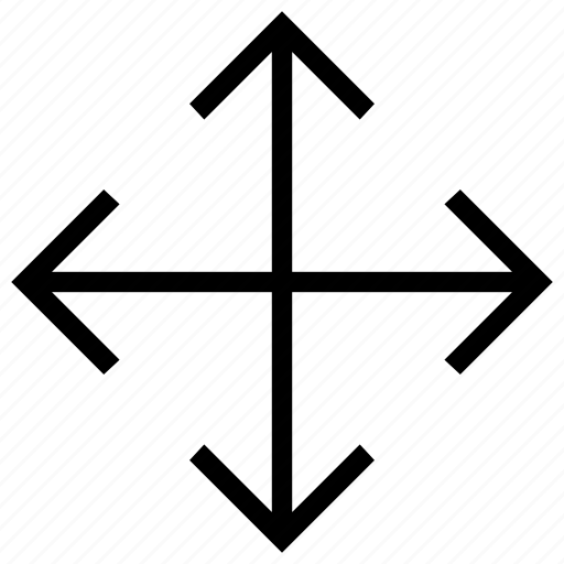 arrows, crossroads, direction, expand, full screen, orientation, zoom in icon icon