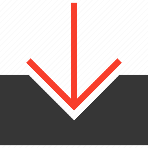 arrow, arrows, down, download, downloading, inbox, save icon