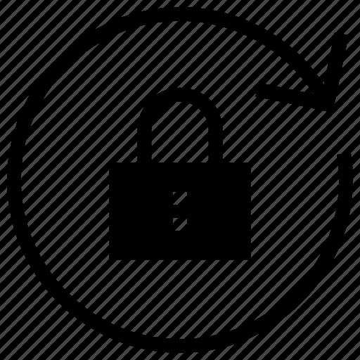 arrow, lock, refresh icon, reload, rewind, secure icon