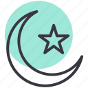 crescent, moon, ramadan, star icon