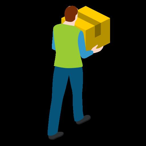 box, carrying, male, man, walking, warehouse, warehouseman icon