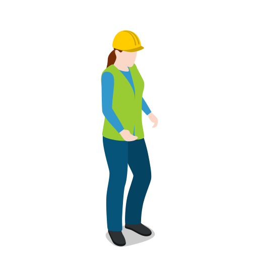 female, standing, warehouse, warehousewoman, woman icon