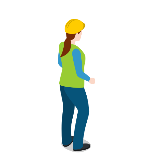 female, standing, warehouse, warehousewoman, woman icon