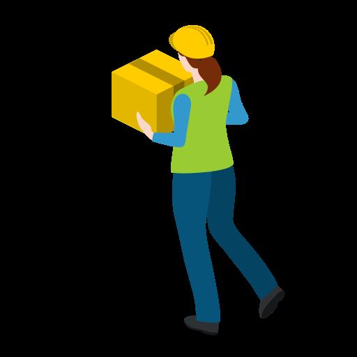 box, carrying, female, walking, warehousewoman, woman icon