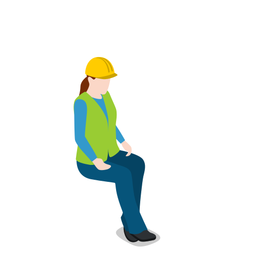 female, resting, sitting, warehouse, warehousewoman, woman icon