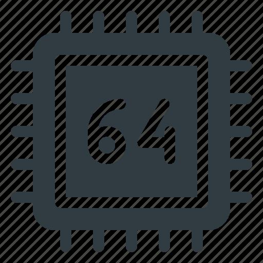 Bit, microchip, processor, chip, cpu icon