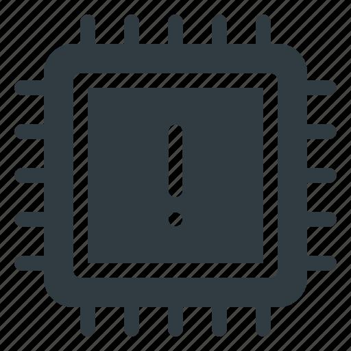 attention, chip, cpu, microchip, processor icon