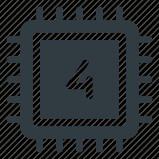 chip, core, cpu, microchip, processor, quad, quadcore icon