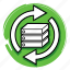 data, maintenance, server, service, support, update icon