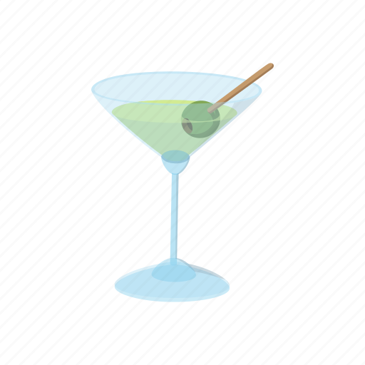 alcohol, cartoon, cocktail, drink, glass, martini, olive icon