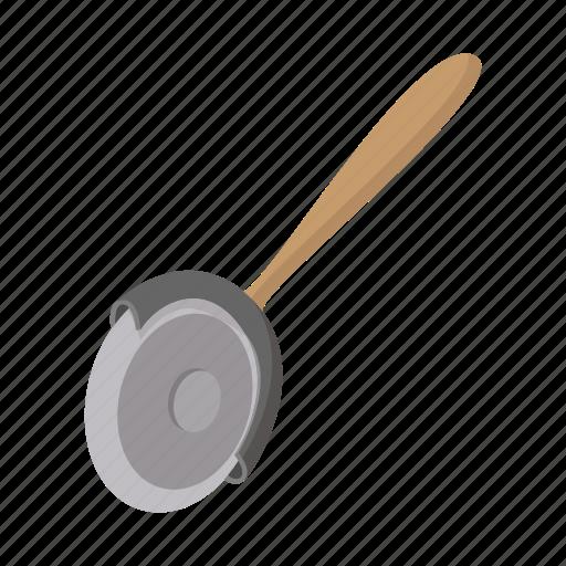 cartoon, cutter, kitchen, metal, pizza, steel, utensil icon