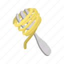 cartoon, dinner, eat, food, fork, italian, pasta icon