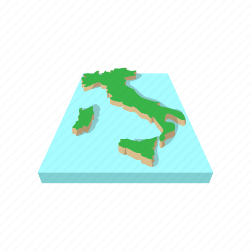 cartography, cartoon, contour, geography, italy, map, travel icon