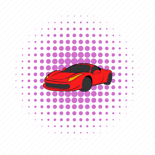 automobile, car, comics, italy, red, show, transportation icon