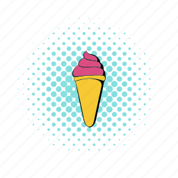 comics, cream, dessert, ice, pink, strawberry, sweet icon