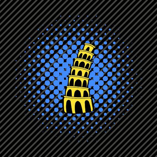 comics, europe, italy, landmark, pisa, tower, travel icon